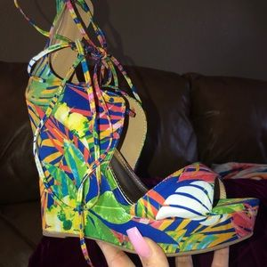 Tropical lace up high heel wedges